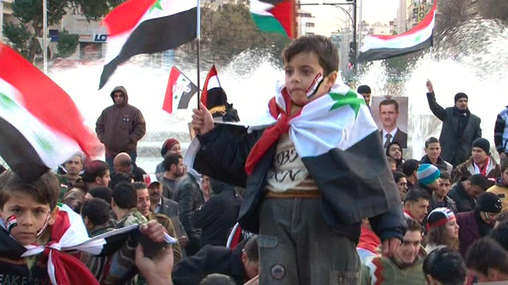 Provládní demonstrace v Sýrii