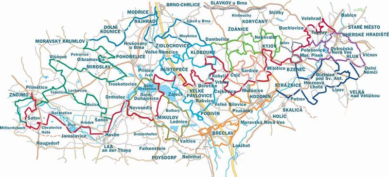 Mapa vinařských cyklostezek