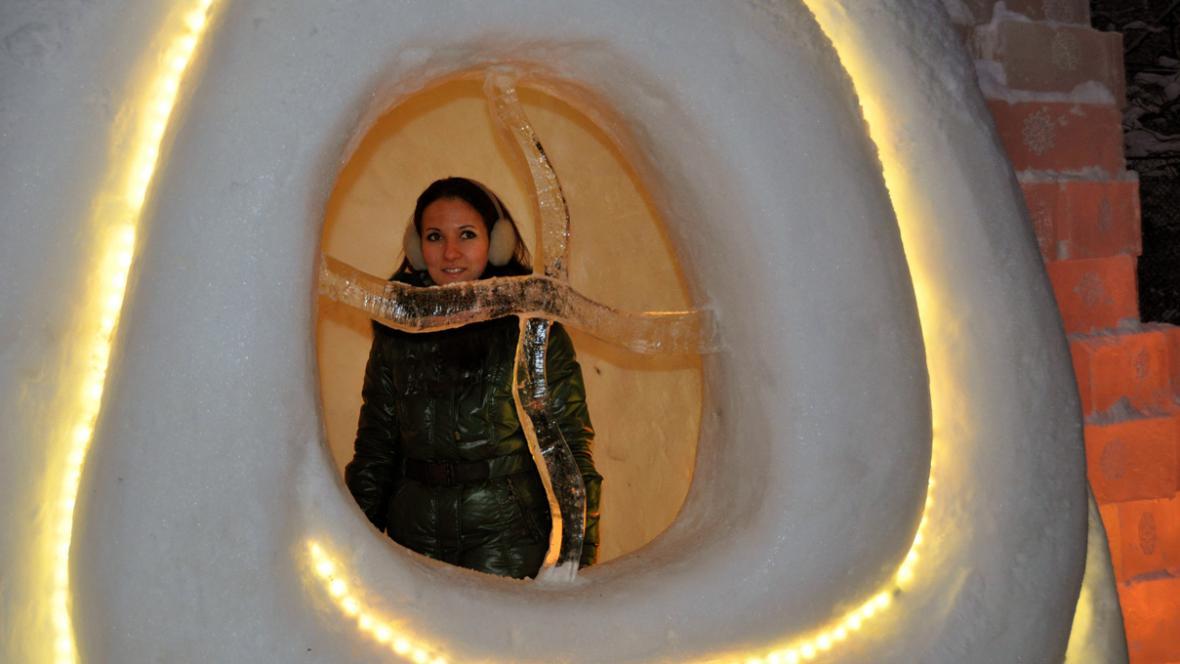 Sauna v moskevském ledovém městečku