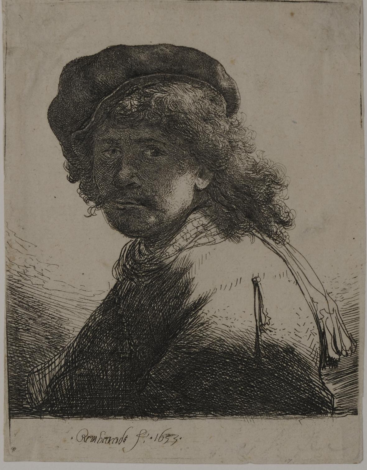 Rembrandt van Rijn - Vlastní podobizna s šerpou kolem krku (1633)