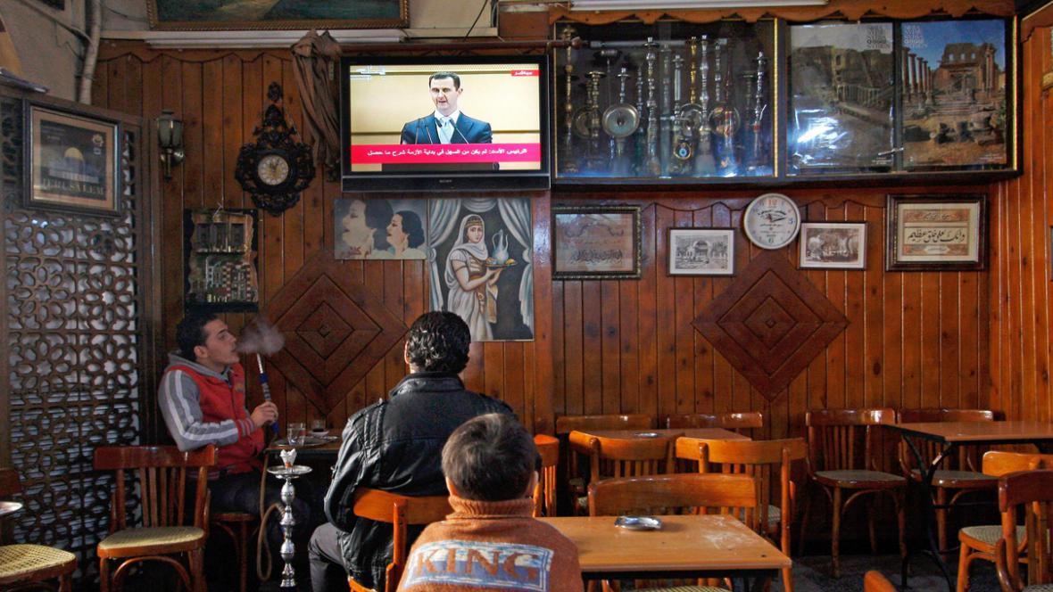 Asadův projev přenášela syrská televize