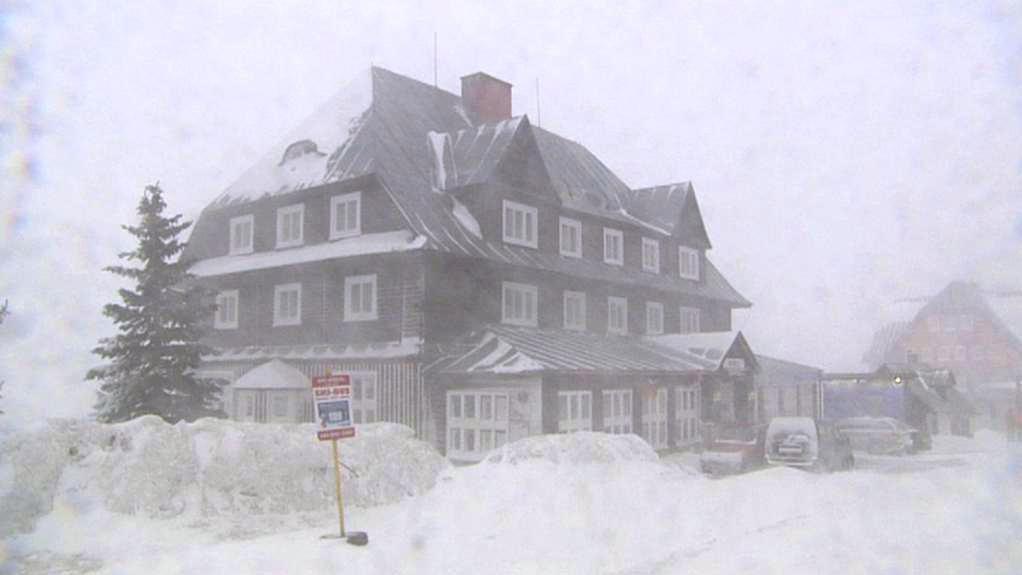 Sněžení v Krkonoších