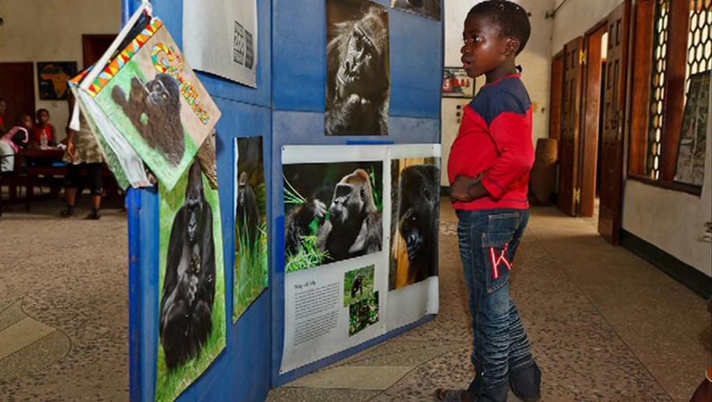 Kamerunské děti si učí o gorilách