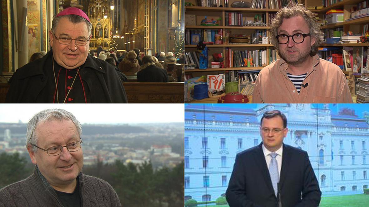 Dominik Duka, Jan Hřebejk, Václav Cílek, Petr Nečas