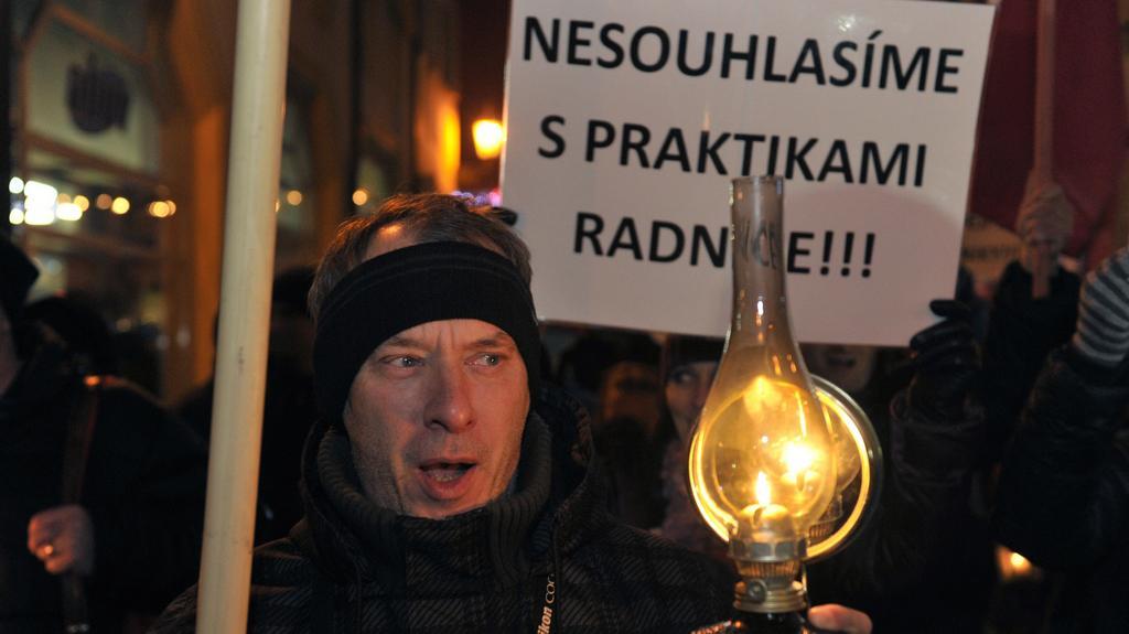 Protestující v Příbrami