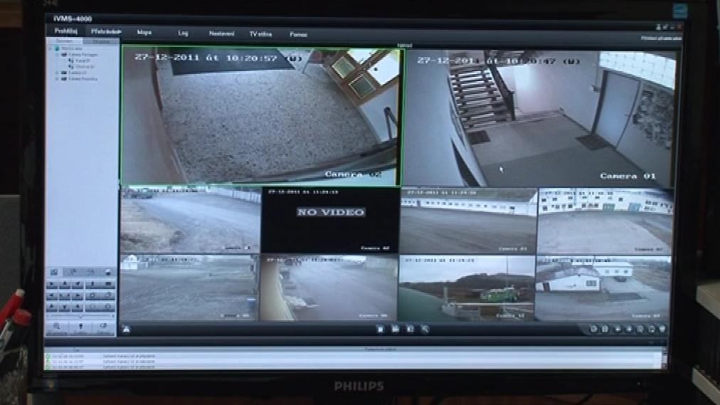 Areál firmy monitorují bezpečnostní kamery