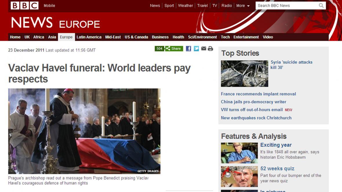 BBC o Havlově pohřbu