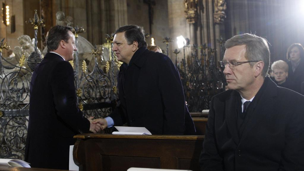 David Cameron, Jose Barroso a Christian Wulff