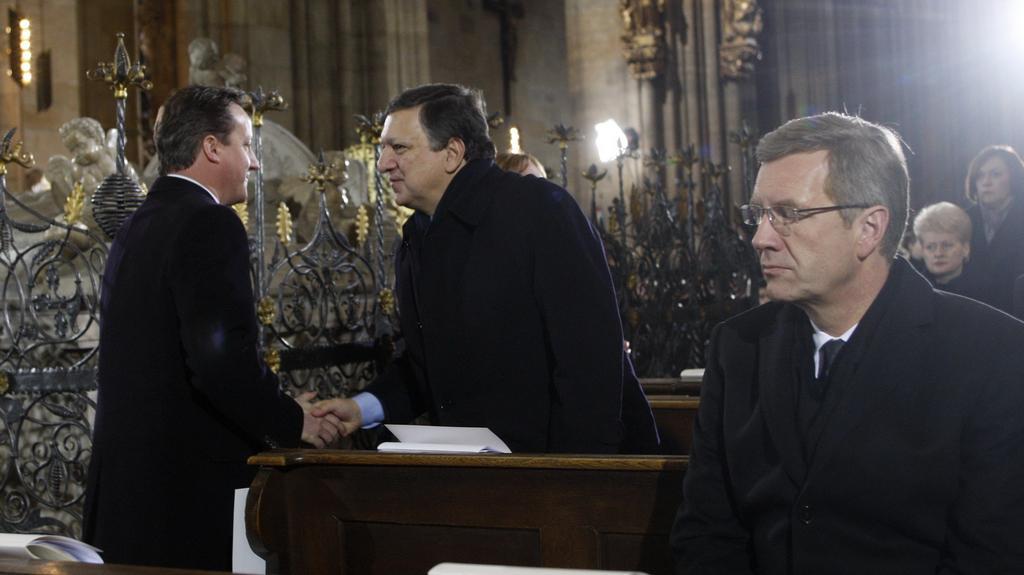 David Cameron, Jose Barroso a Christian Wulff