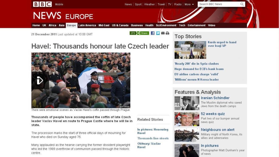 Zpravodajský server BBC o smutečním průvodu