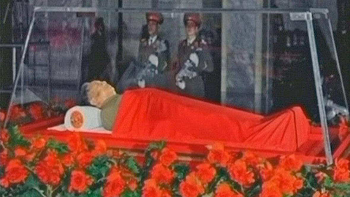 Vystavené tělo Kim Čong-ila