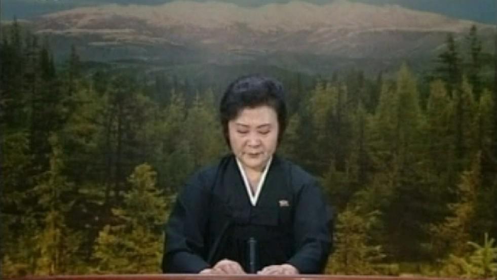 Plakající severokorejská hlasatelka