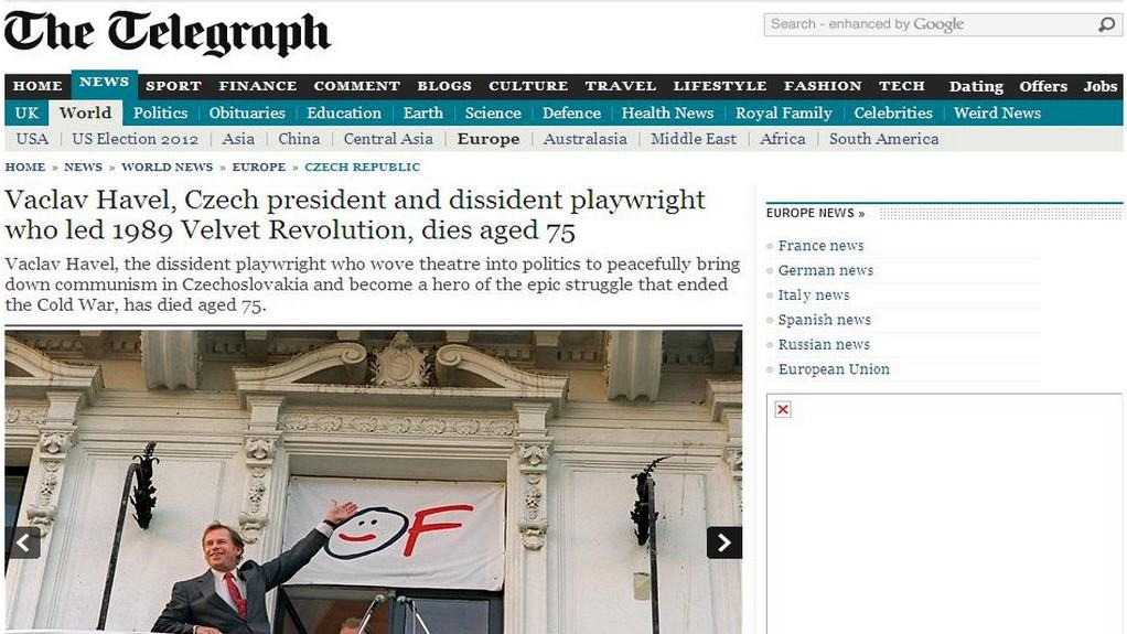 Telegraph o smrti Havla