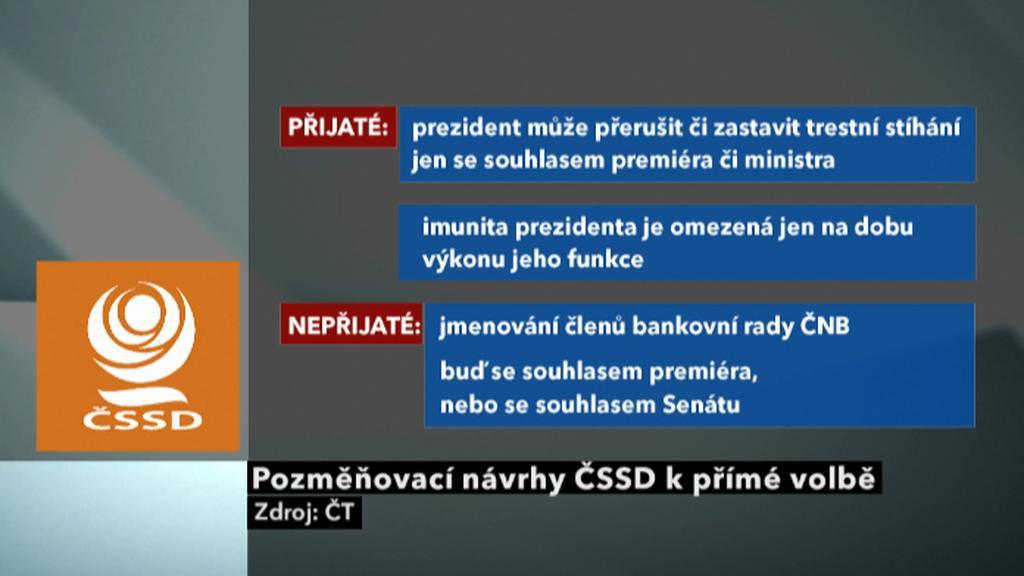 Pozměňovací návrhy ČSSD k přímé volbě prezidenta