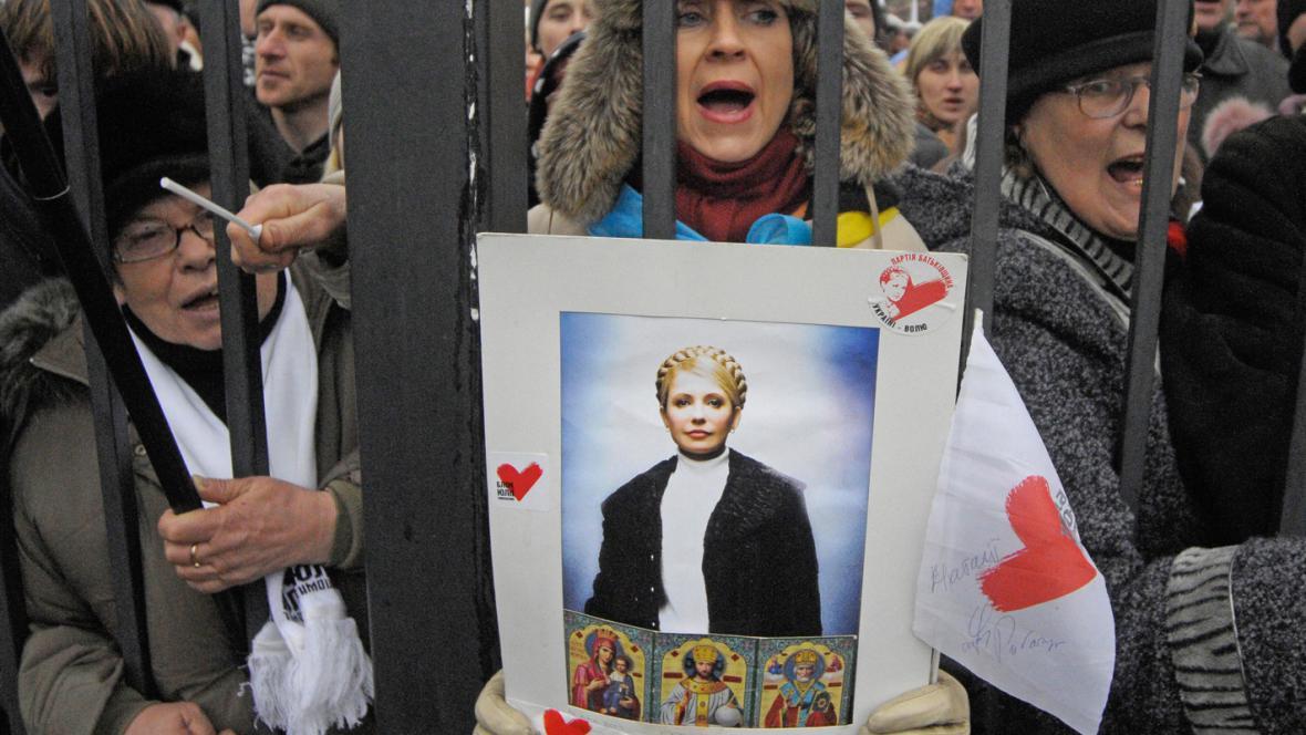 Demonstrace před odvolacím soudem v Kyjevě