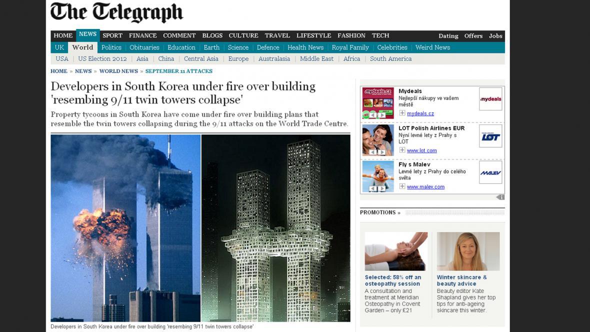 Daily Telegraph o návrhu korejských mrakodrapů