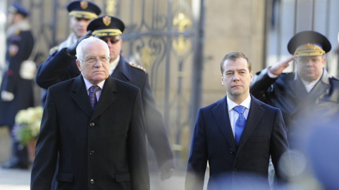 Dmitrij Medvěděv a Václav Klaus