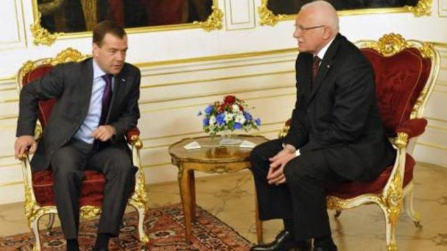 Václav Klaus a Dmitrij Medvěděv