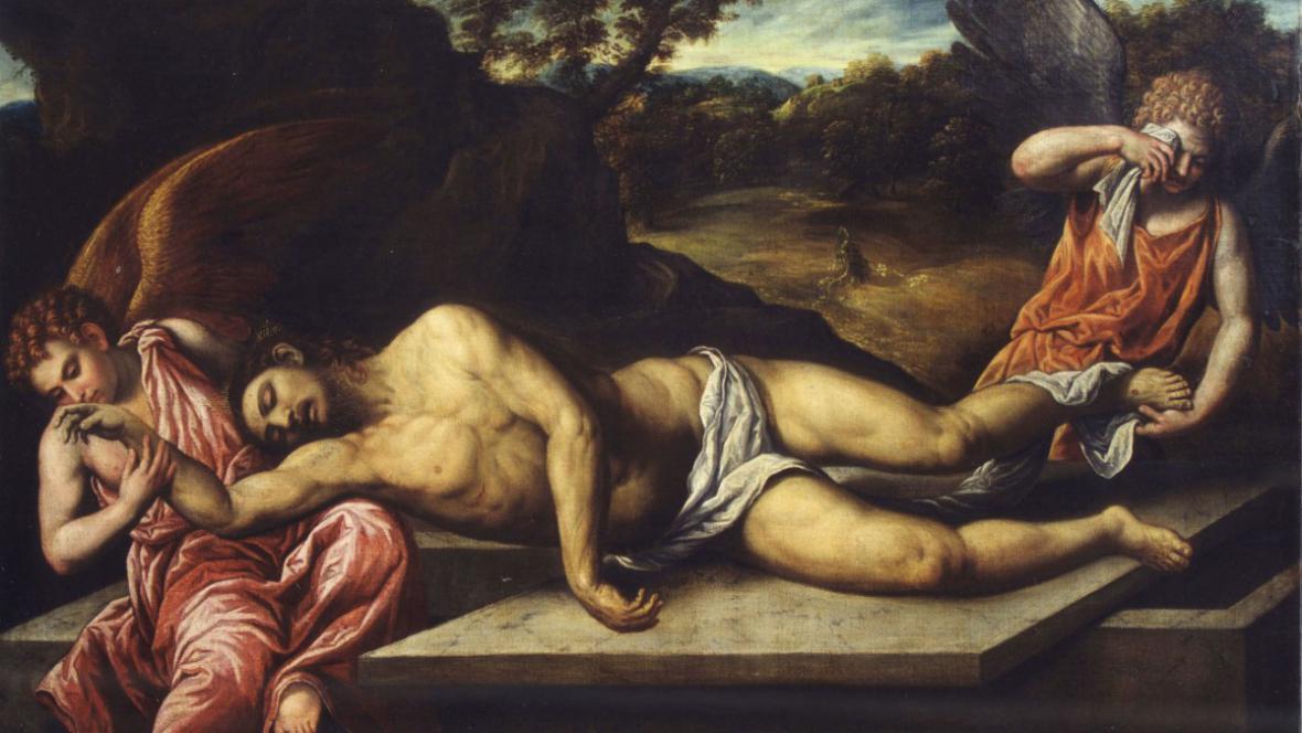 Paris Bordone - Mrtvý Kristus oplakávaný anděly
