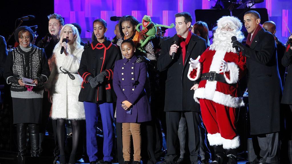 Barack Obama s rodinou po rozsvícení národního vánočního stromu
