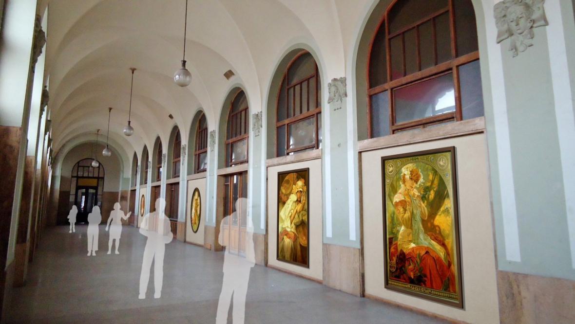 Vizualizace Muchovy epopeje ve Fantově budově hlavního nádraží