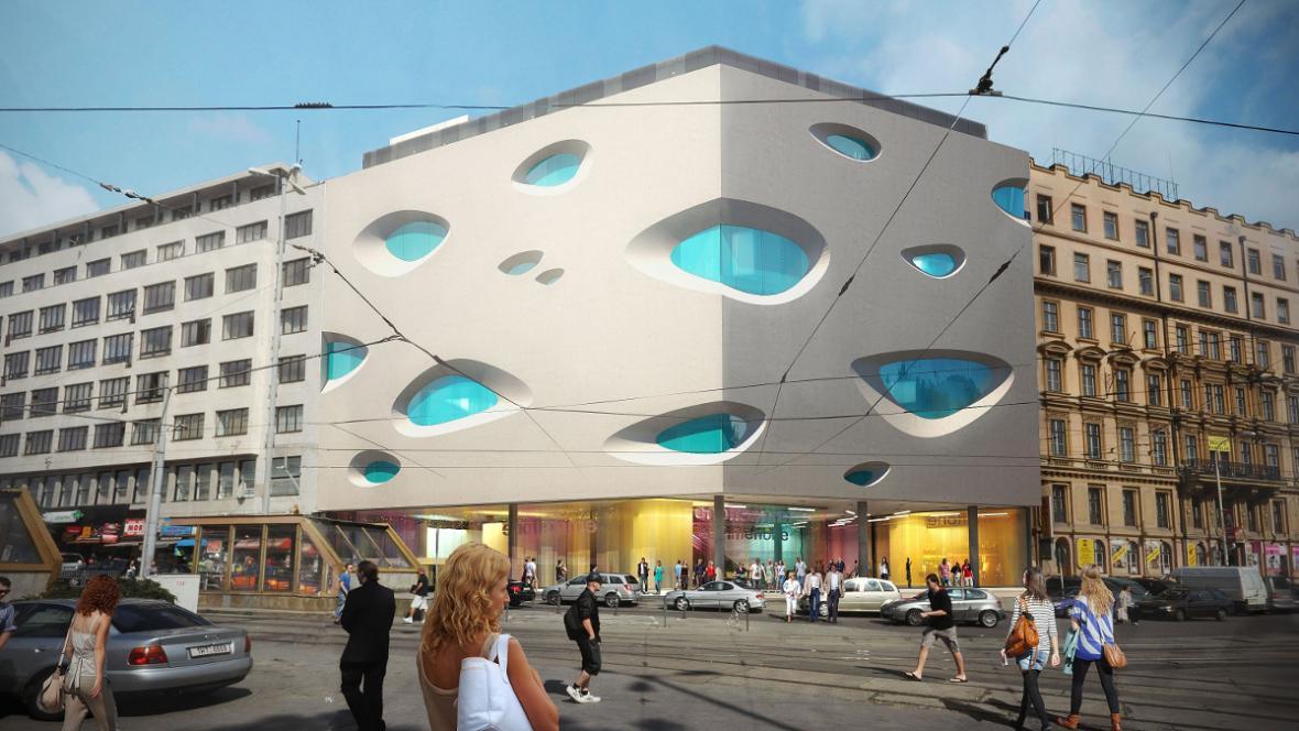 Vizualizace zrekonstruované budovy Nádražní 2