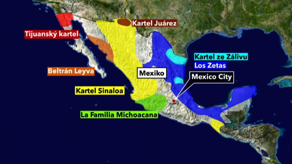 Mapa mexických drogových kartelů