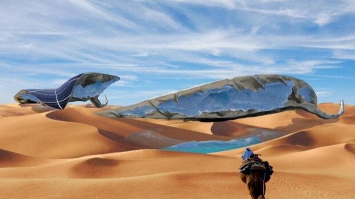 Ledová socha v poušti