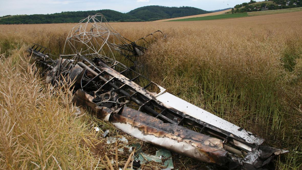 Vrak letadla, které havarovalo v Brně-Medlánkách