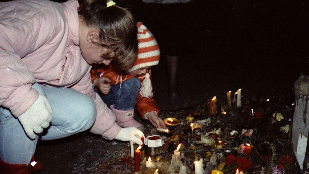 Pomníček po masakru studentů v podloubí