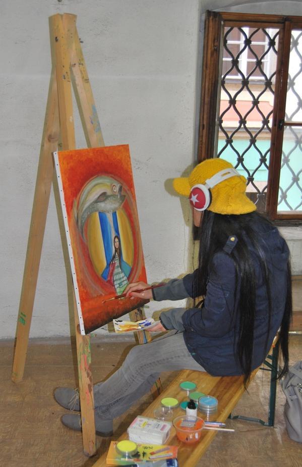 Student při práci pod vedením lektorky Jovanky Gack