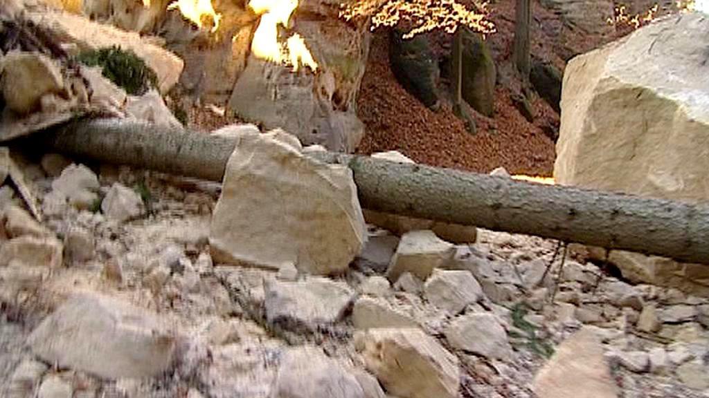 Zřícená skála u hradu Valdštejn v Turnově