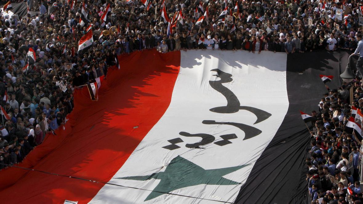 Demonstrace na podporu syrského prezidenta