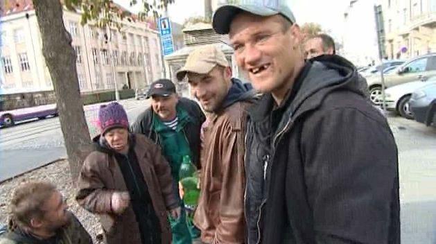 Bezdomovci v centru Olomouce