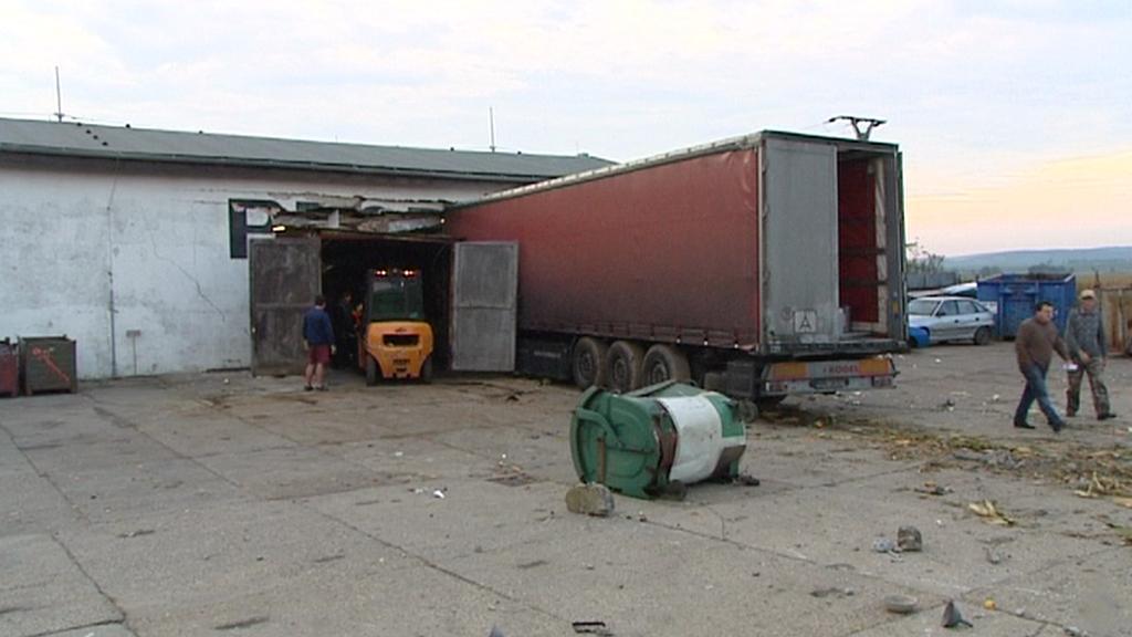Havarovaný kamion v Mohelnici