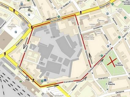 Mapa pochodu extremistů