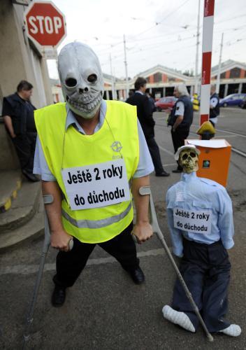 Stávka ve vozovně v Praze-Strašnicích