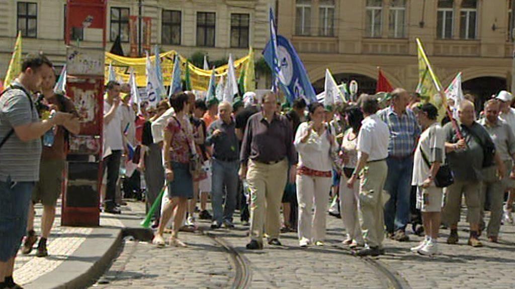 Protestní pochod odborářů