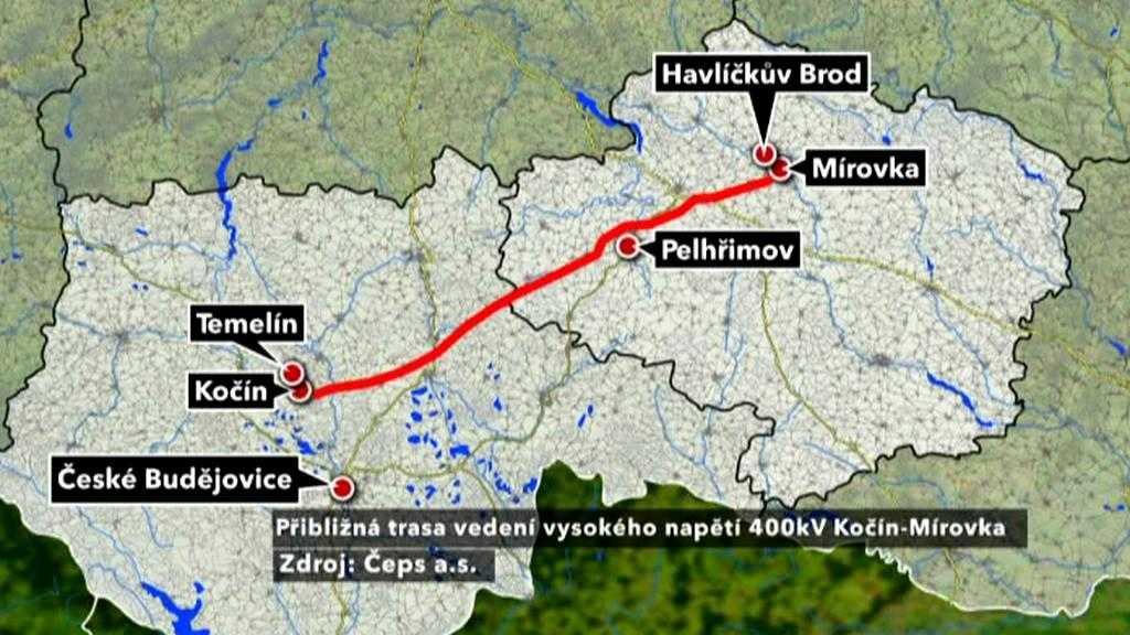 Plánovaná trasa vedení VVN Kočín - Mírovka