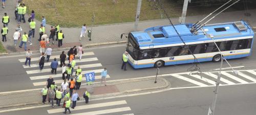 Stávkující blokovali trolejbusy