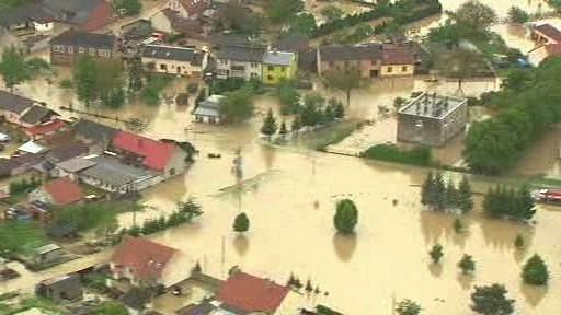 Zaplavená obec Troubky