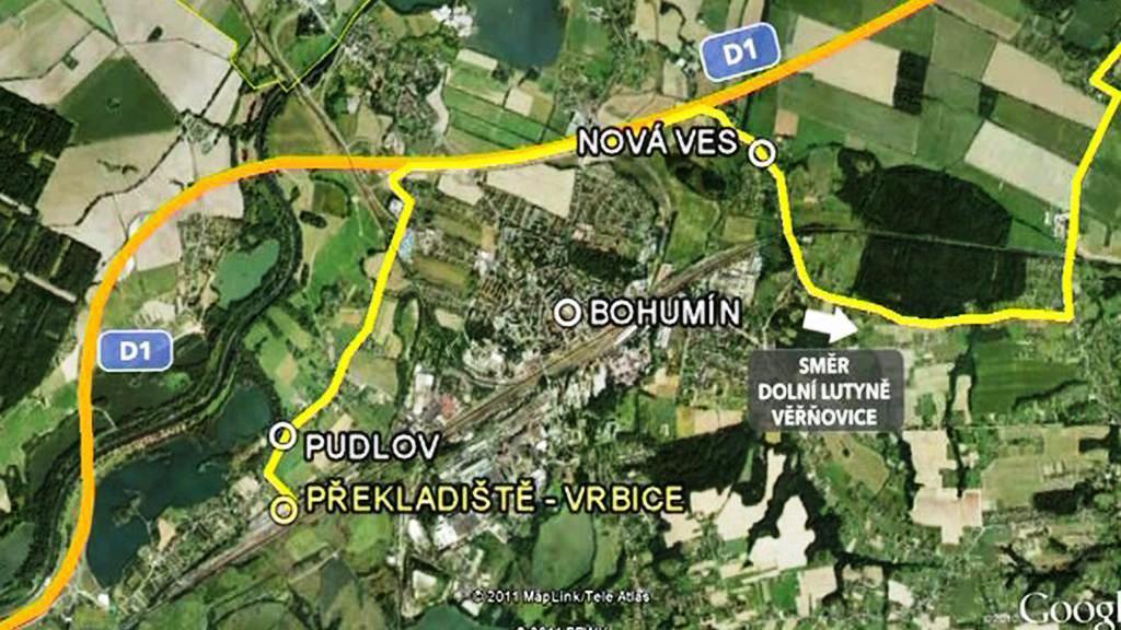 Trasa plánované dopravy přes Bohumín
