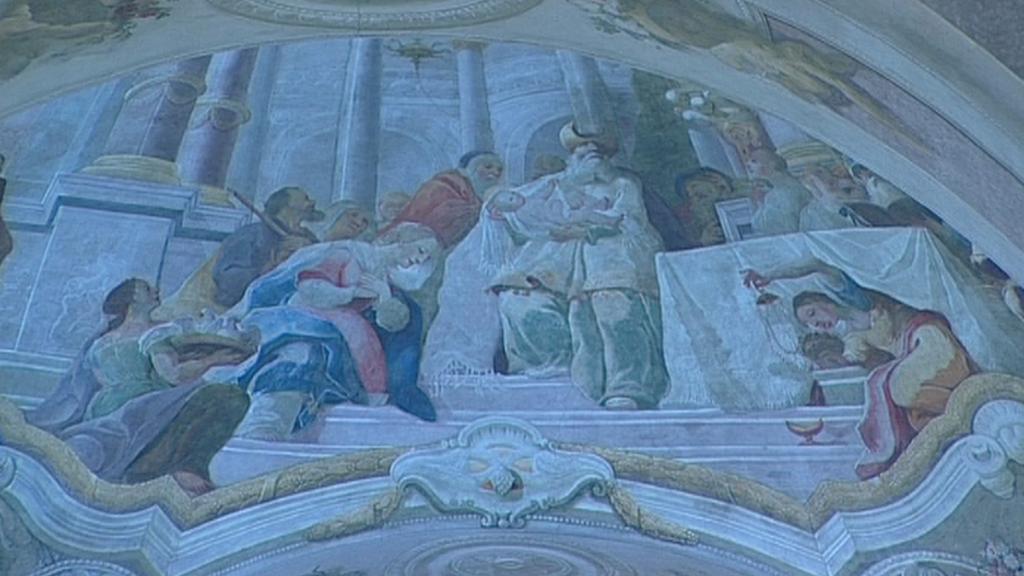 Zrestaurovaná barokní freska