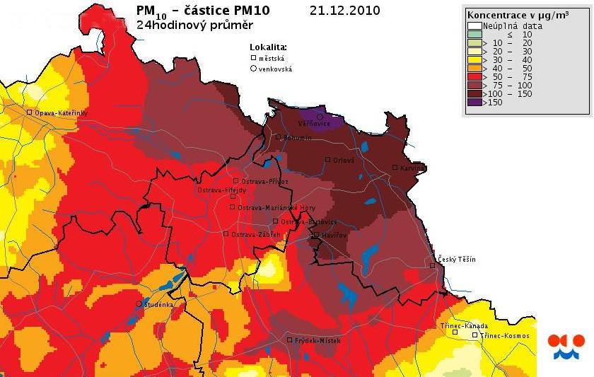 Znečištěné ovzduší na Ostravsku