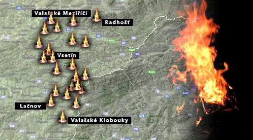 Mapa strážních ohňů na Valašsku