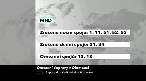 Omezené spoje MHD v Olomouci