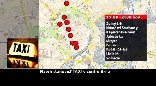 Návrh stanovišť TAXI v centru Brna