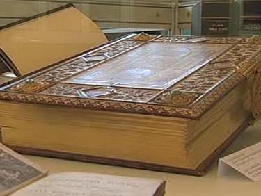Jedna z vystavených Biblí