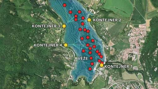 plán umístění aeračních věží v brněnské přehradě