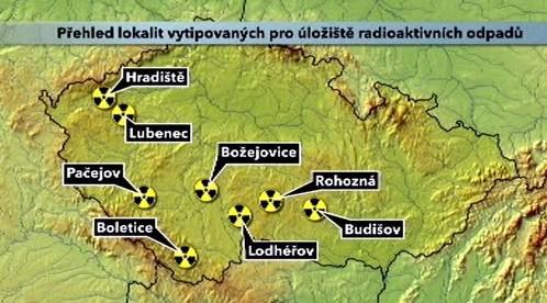 Vytipované lokality na jaderné úložiště